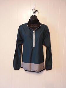 Nike-Running-1-2-Zip-Pullover-Lightweight-Blue-Gray-Windbreaker-Jacket-Womens-M