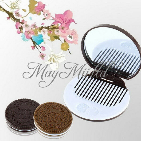 Cute Cookie Shaped Design Mirror Makeup Chocolate Comb J