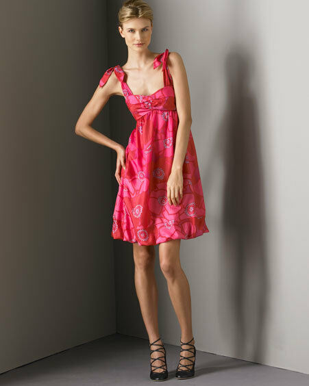 Z 358 NWT VINTAGE MARC JACOBS VINTAGE SILK Rosa FLORAL BUBBLE TULIP DRESS 6 2 34