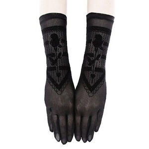 Restyle-Gothic-Rose-Witch-Gothic-Black-Mesh-amp-Velvet-Long-Wrist-Gloves