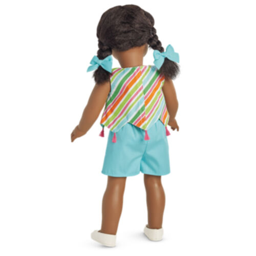 "American Girl MELODY PLAY OUTFIT for 18/"" Dolls Summer Blue Striped Clothes NEW"