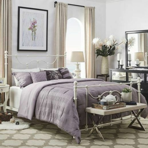 Vintage Antique White Scrolling Metal Bed Frame Queen Size Bedroom Furniture