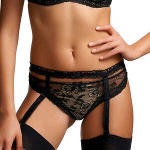 Fantasie-Lingerie-Susanna-Suspender-Belt-Black-Antique-Gold-2408-NEW