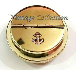 Collectibles Antique Nautical Brass Anchor Ashtray Inalid Cigar Cigarette Case Ebay