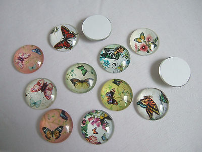 5/10 Mixed Butterfly Round Glass Cabochons Cameos 18mm