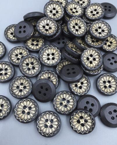 200pcs Blumen schwarz Runde Holz Knopf//Knöpfe Dekorative Scrapbooking Nähen 15mm