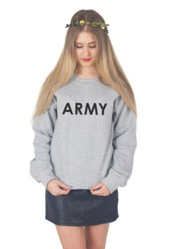 ARMY Sweater Top Jumper Sweatshirt Fashion Blogger Summer Military Street Slogan