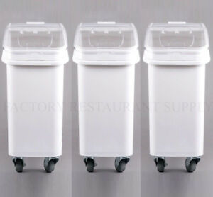 Merveilleux Heavy Duty Commercial 21 Gallon Dry Ingredient Storage Bin Clear Lid Casters
