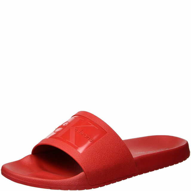 3fa312057daf Calvin Klein Mens Vincenzo Jelly Slide Sandal Dark Red 11 MSRP 39 New