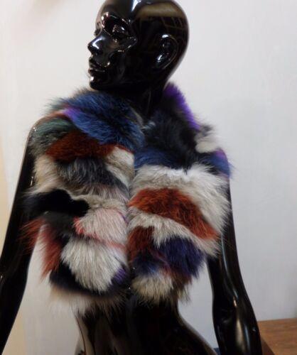 COLLO PELLICCIA VOLPE multicolor FOURRURE RENARD silver FUR FOX cappuccio parka