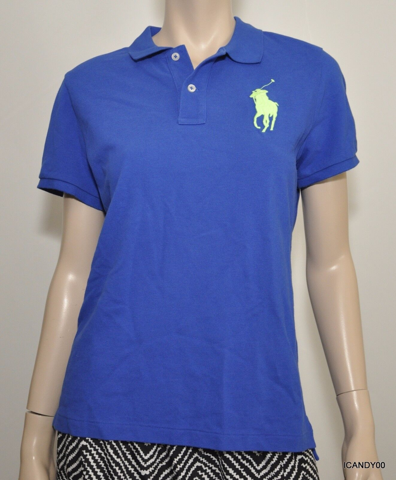 Nwt  Ralph Lauren The Skinny Fit Polo Big Pony Mesh Cotton Shirt Top bluee L