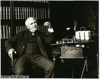 Thomas Edison With His Edison Phonograph Electric Light Bulb Edison Library