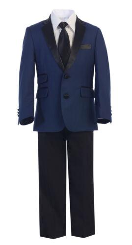 Premium Boy Toddler Kid Teen 4pc Formal Slim Tuxedo Dress Suit 2-20 BLUE//BLACK