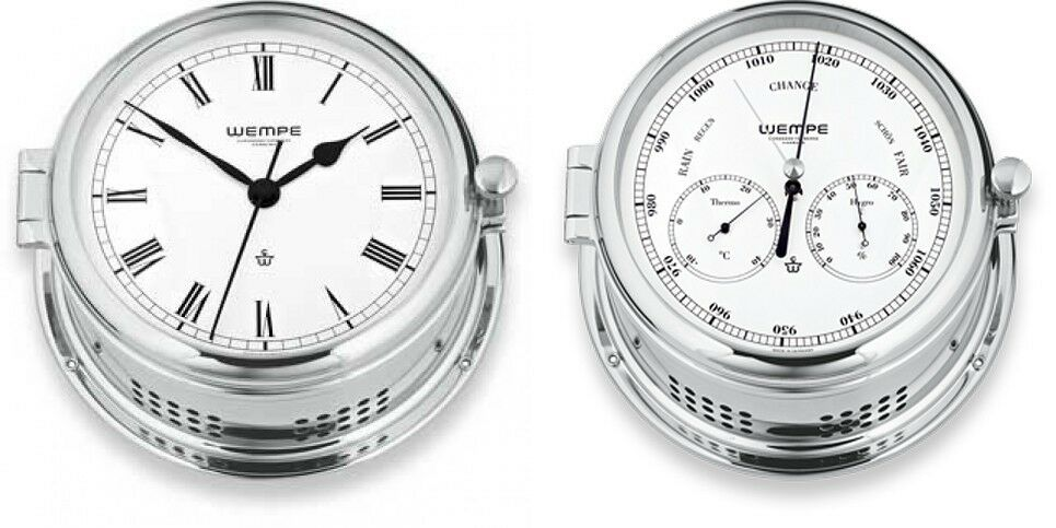 Wempe Serie Admiral II Messing verchromt- Quarz-Glasenuhr, Kombi-Messinstrument