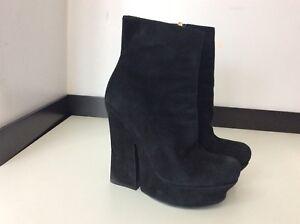 958a9982be Details about Ysl Yves Saint Laurent Black Suede Boots Wedge Platform Size  37 Uk 4 Heels Vgc