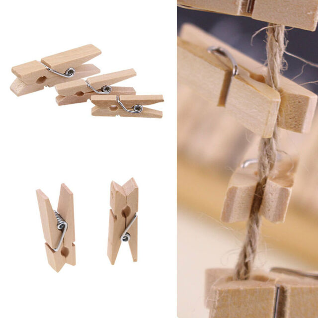 100 PCS 25x3MM Mini Wooden Pegs Clothes Pins For Crafting Cardmade Scrapbook SH