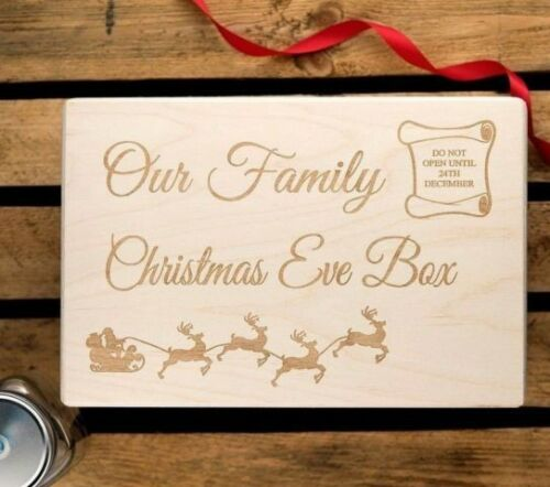 Personalised Christmas Eve Box Wooden Xmas Box Engraved Eve boxes 30x20x14cm