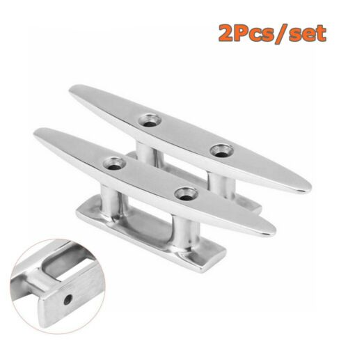 """4/"""" Stainless Steel Mooring Cleat Deck Rope Yacht Marine Boat Dock Cleats 2Pcs"""