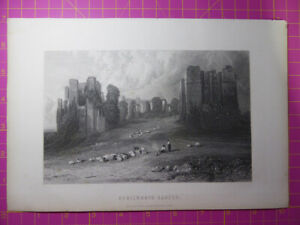 Antique-engraving-VIEW-of-KENILWORTH-CASTLE-Warwickshire-Veduta-etching-print