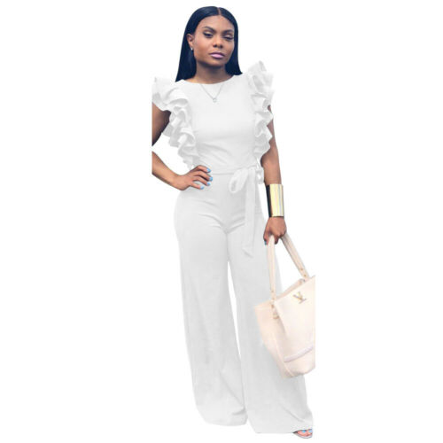 Fashion Women Ruffled Solid Color Cocktail Party Casual Loose Wide Legs Jumpsuit