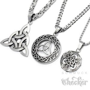 Triqueta-Anhaenger-Keltischer-Knoten-Edelstahl-Medaillon-Herren-Schmuck-Halskette