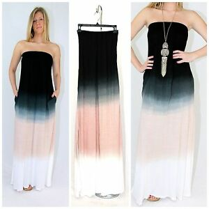 Karissa Strapless Black Ombre Tie Dyed Maxi Dress Jersey Knit ...