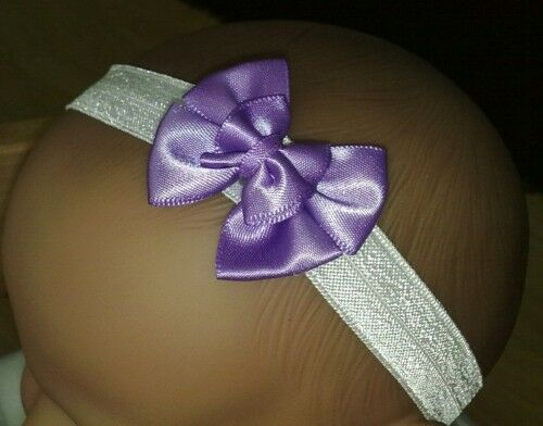 BABY GIRL//REBORN DOLL BABY DEEP LILAC SATIN DOUBLE BOW HEADBAND