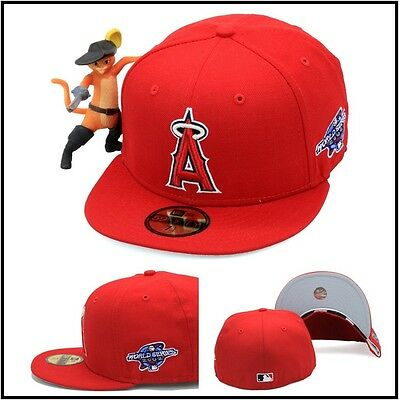 New Era Los Angeles LA Angels Fitted Hat 2002 World Series Side Patch MLB