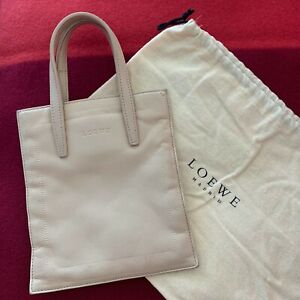 RARE-Genuine-LOEWE-Madrid-Vintage-MINI-LEATHER-TOTE-Evening-Hand-BAG-Purse-BEIGE