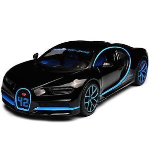 Bugatti-Chiron-2018-Montoya-42-1-24-Die-Cast-Modello-Auto-Miniatura-in-Metallo-Nero
