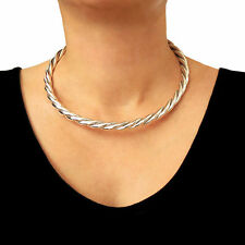 Large 925 Sterling Taxco Silver Twisted Torc Choker