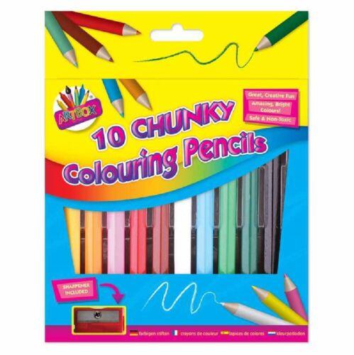 Chunky Crayons avec Aiguiseur Artbox Crayons de couleur Moitié Taille Kids Fun