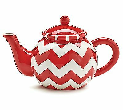 Ceramic Teapot Red White Chevron Stripe 32 oz New in Gift Box burton+BURTON
