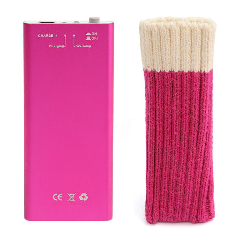 Includes Comfort Sock /& Charging Cable Rechargeable Hand Warmer in Pink