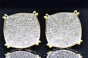 2Ct-Round-Cut-D-VVS1-Diamond-Square-Shape-Studs-Earrings-14K-Yellow-Gold-Finish