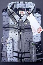 NWT Lacoste LIVE Men's Skinny Fit Flour/Black Cotton Casual Shirt S Eur 38