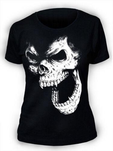Skull T-Shirt SCREENPRINTED Womens Goth Rock Punk Horror Vampire gothic ladies