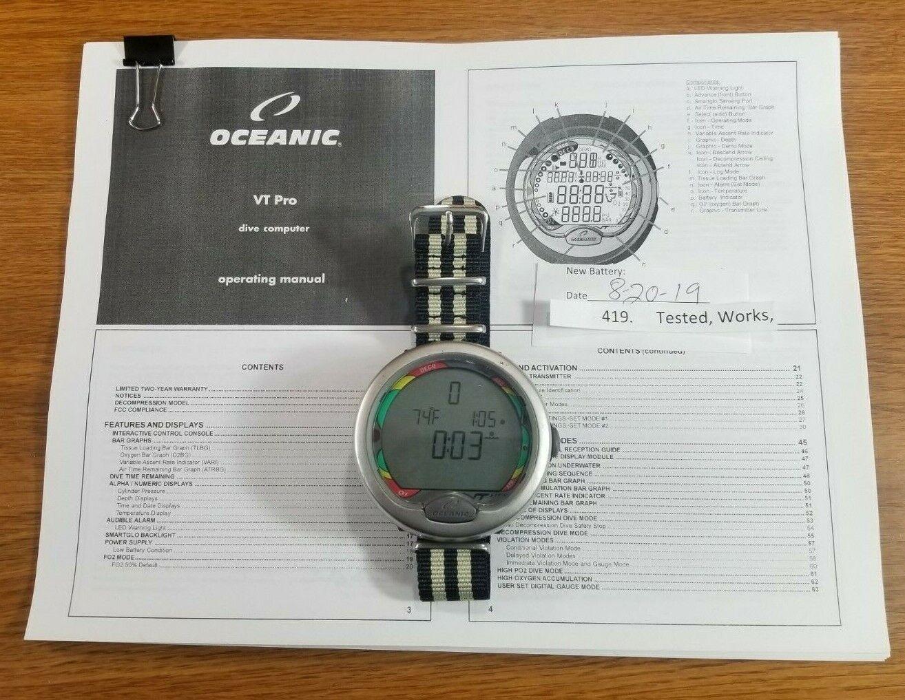 Oceanic VT Pro Wireless Hoseless Wrist Scuba Dive Computer Air Integrated   419