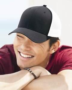 5c99bbfe7f3c1 12 Custom Logo Embroidered Flext Fit 6-Panel Trucker Cap HAT CAPS ...