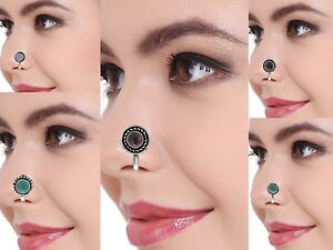 Indian Clip On Nose Ring Stud Oxidized Tribal Stone Women Fashion