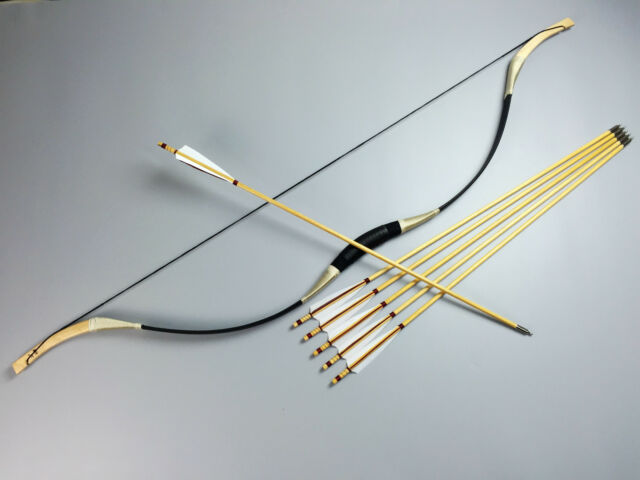 New Traditional 45LBS Recurve bow Pigskin Hunting Mongolia Longbow+6 wood arrows