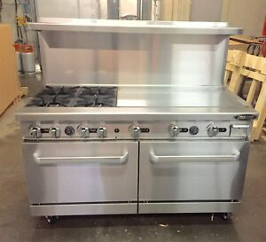 Outstanding Details About 60 Range With Grill 4 Burner Gas 36 Griddle 2 Full Double Size Standard Oven Home Interior And Landscaping Ponolsignezvosmurscom
