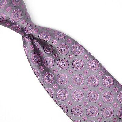 Gladson Mens Silk Necktie Pewter Gray Check Basketweave Textured Tie Italy