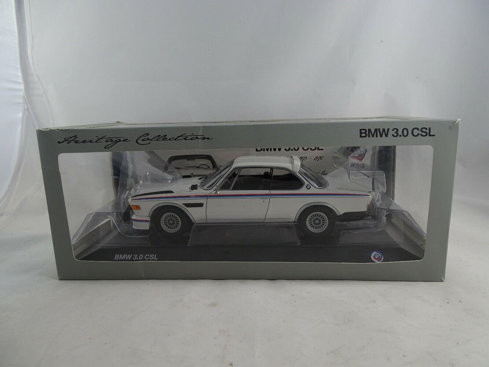 1 18 Dealers modèle 80432411550 1971 BMW 3.0 CSL Heritage Blanc Nouveau Neuf dans sa boîte