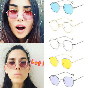 Sunglasses Women Hexagon Metal Mirrored Details Fashion Clear Frame Glasses Square Men About 35Aj4LR