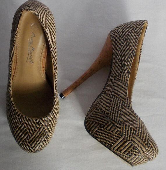 "Moda jest prosta i niedroga NEW  Ladies Anne Michelle beige/brown 5"" heel  shoe size UK 4"