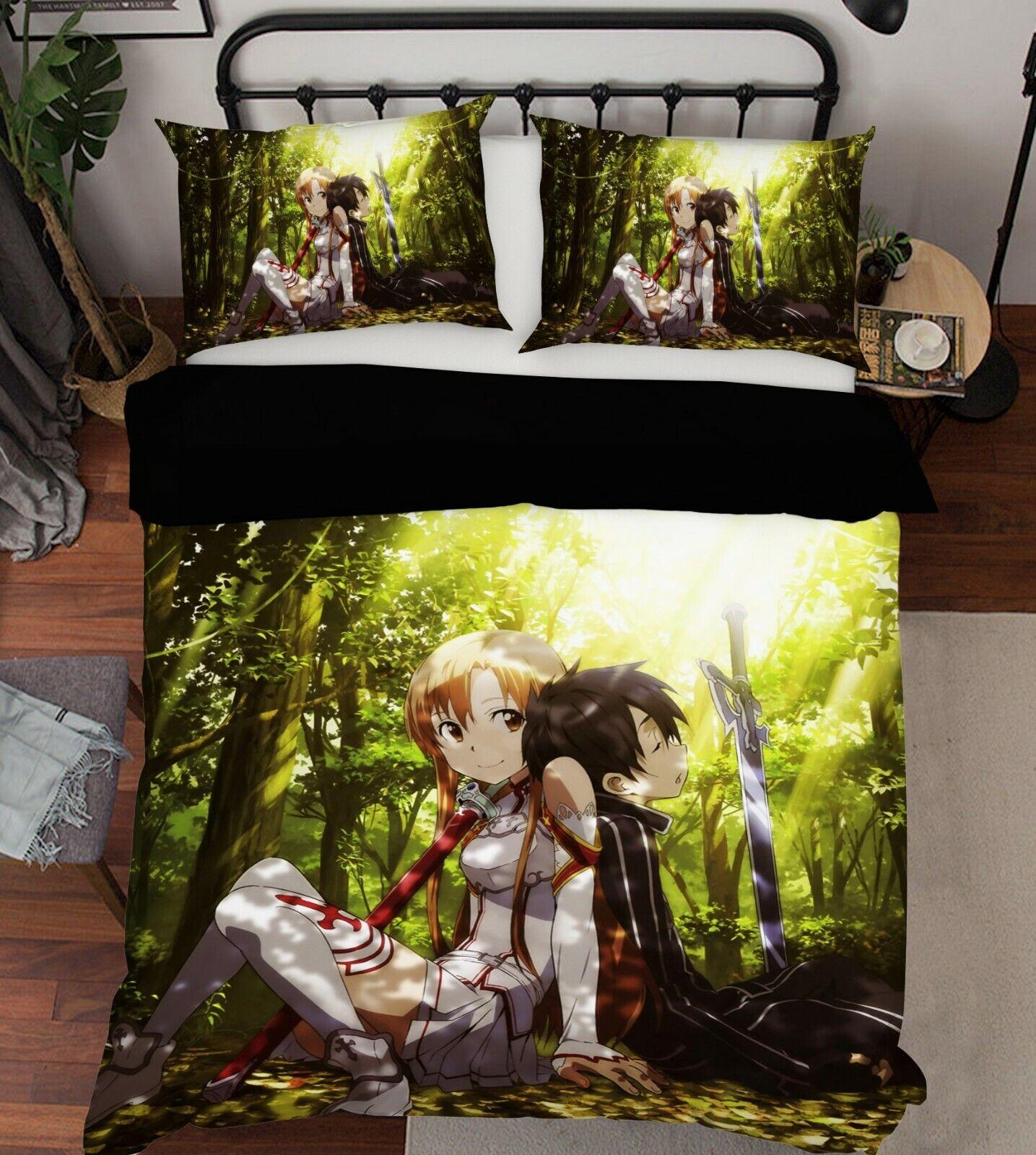 3D Sword Art Online O895 Japan Anime Bed PilFaiblecases Quilt Cover Duvet Amy