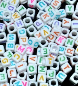 AAA-alphabet-colourful-letter-beads-6-mm-white-cube-mixed-amp-single-A-B-Z
