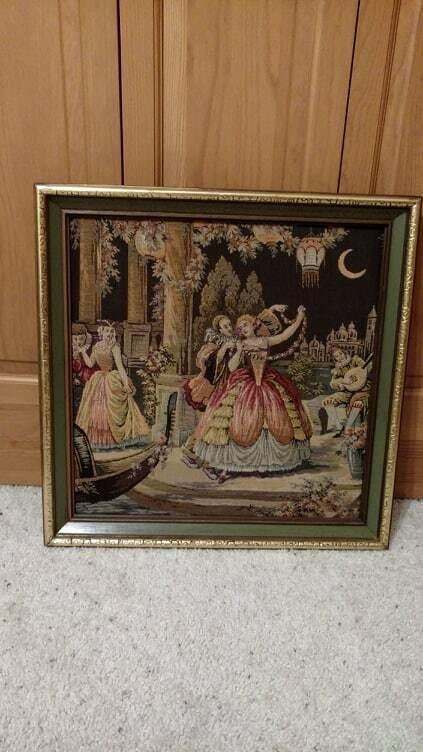 VINTAGE Romantique European Old World encadrée Tapestrie 21X21
