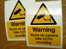 WARNING You're on camera CCTV Home Garage Workshop Security Stickers 2 off 125mm